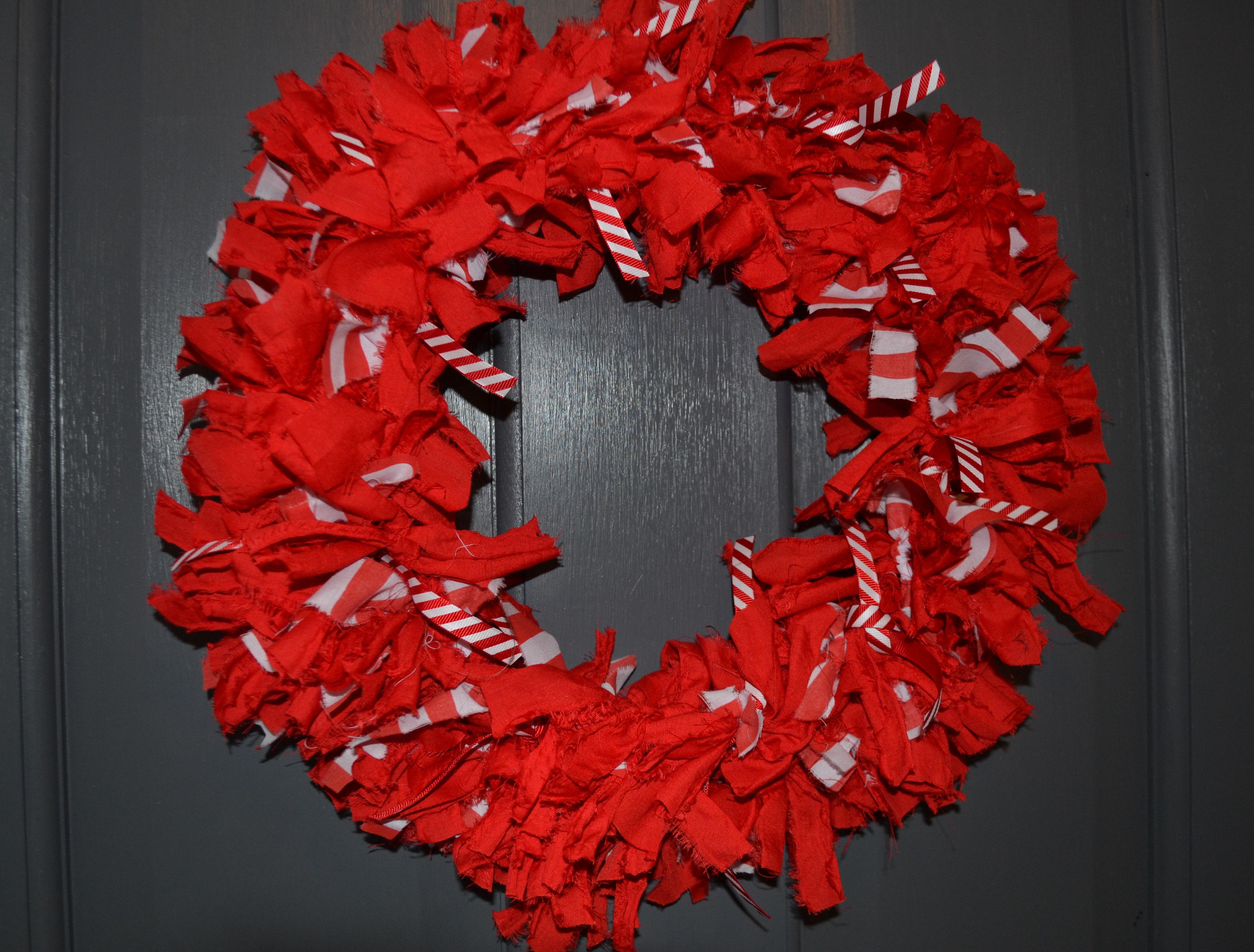 Candy Cane Fabric Wreath