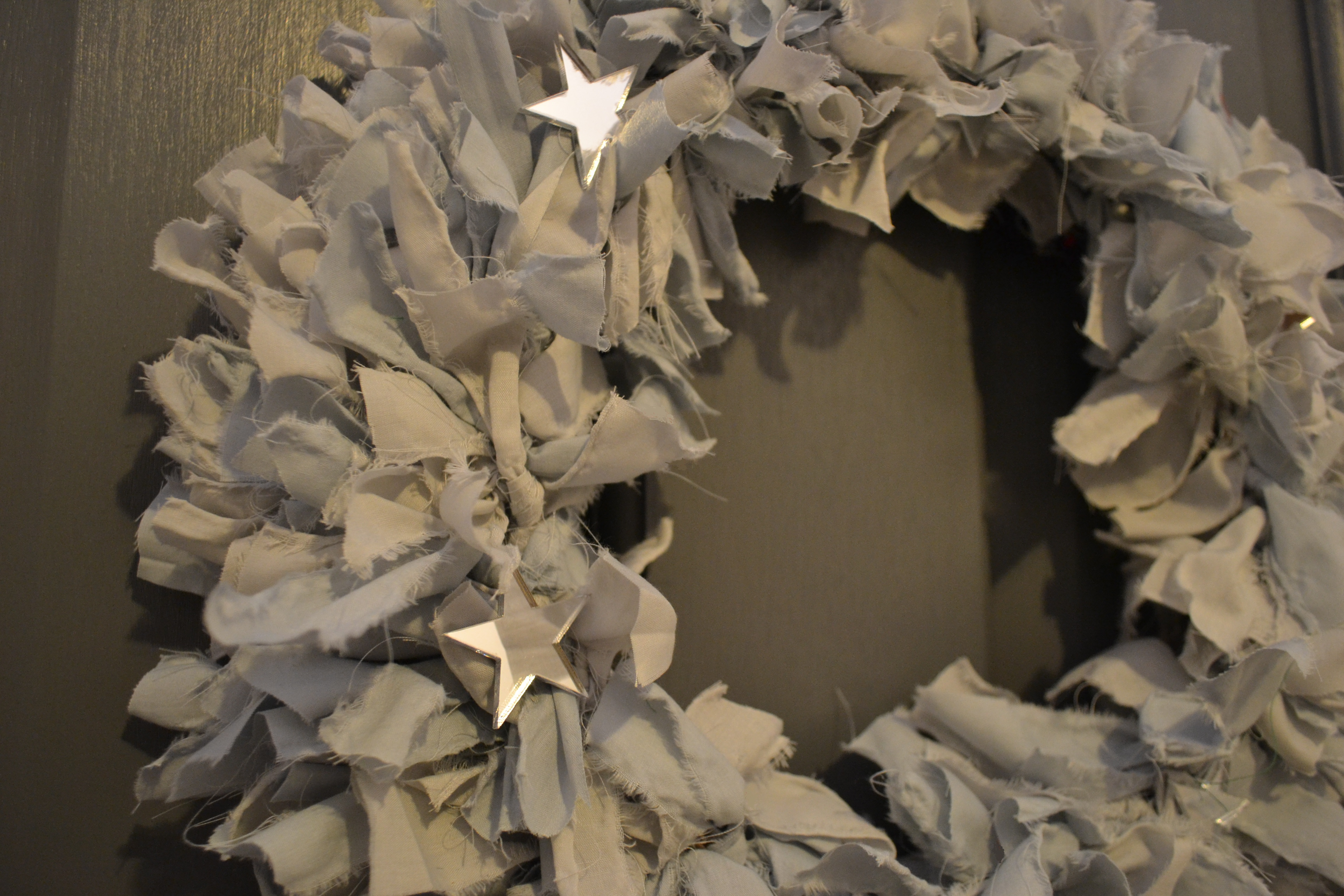 Soft Grey Star Fabric Wreath